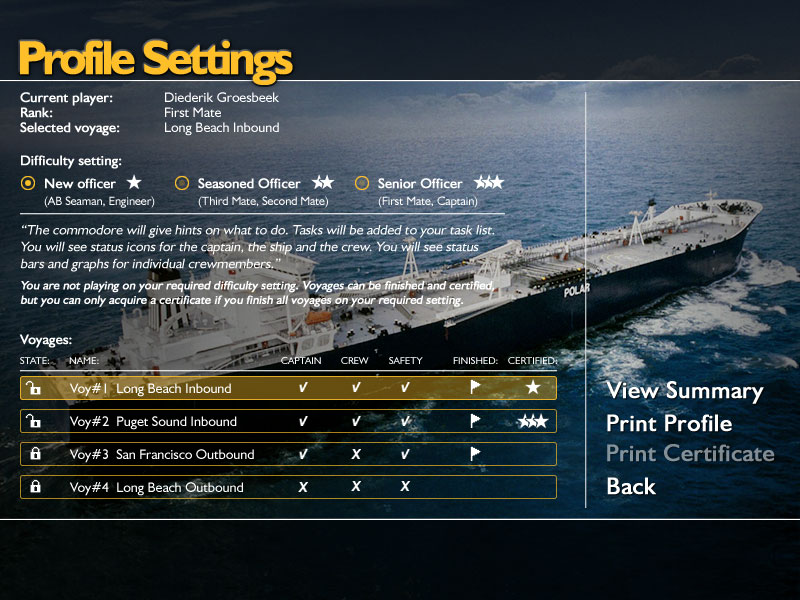 Bridge Command: review profile settings, complete missions.
